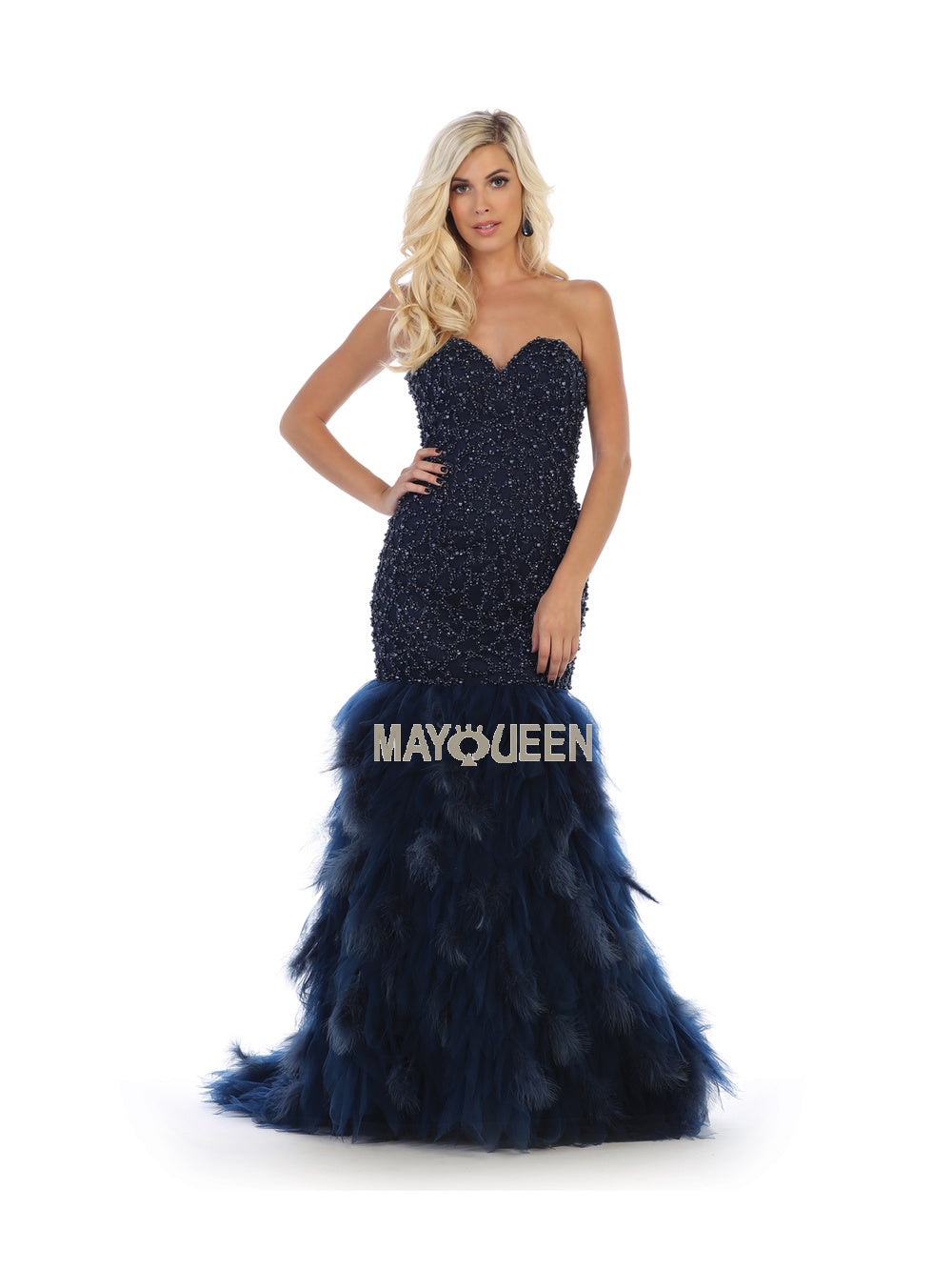 Mayqueen Size Chart E MQ 7668 - Strapless sequins full length mesh mermaid dress - Diggz Prom