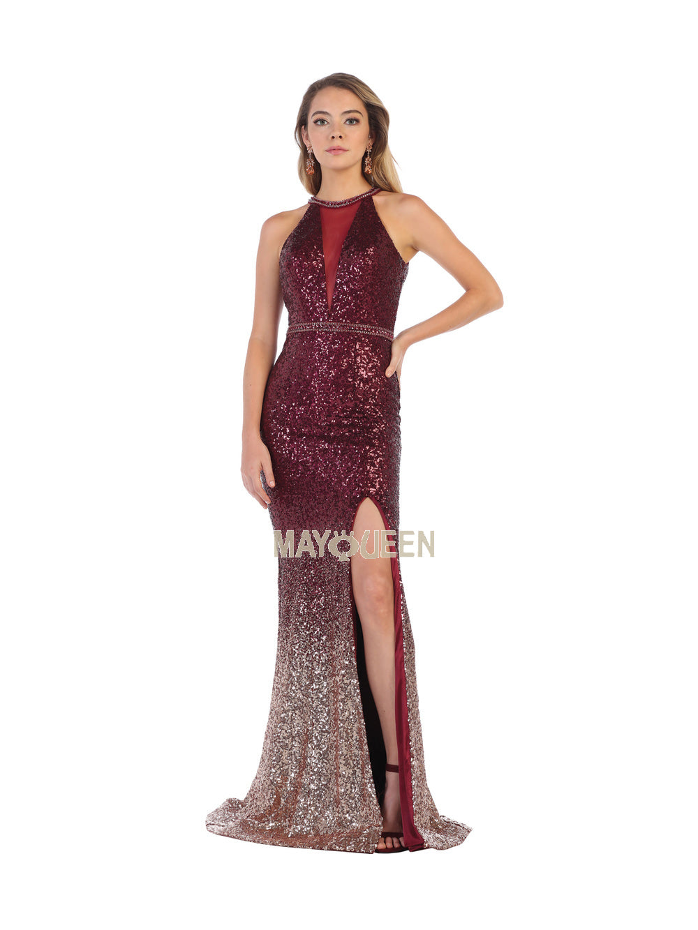 MQ 7673 - Fit & Flare Ombre Sequin Gown with high Leg slit - Diggz Prom