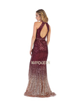 Mayqueen Size Chart E MQ 7673 - Fit & Flare Ombre Sequin Gown with high Leg slit - Diggz Prom