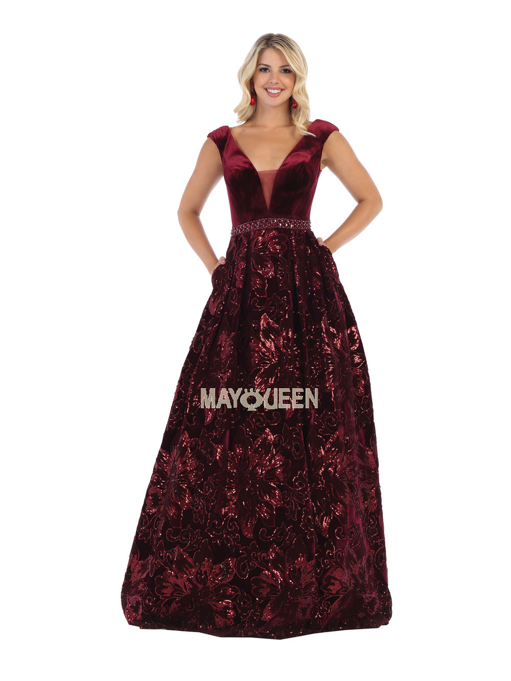 Mayqueen Size Chart E MQ 7674 - Cap sleeve sequins long velvet dress with side pockets - Diggz Prom