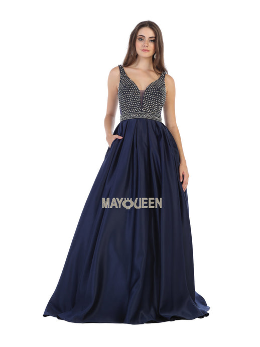 Mayqueen Size Chart E MQ 7680 - Shoulder straps rhinestones taffeta ballgown with side pockets - Diggz Prom
