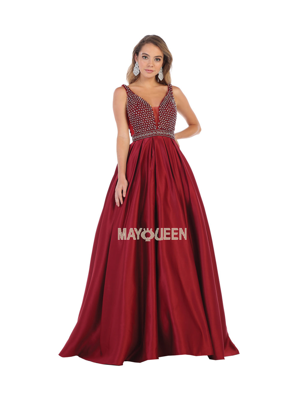 MQ 7680 - Shoulder straps rhinestones taffeta ballgown with side pockets - Diggz Prom