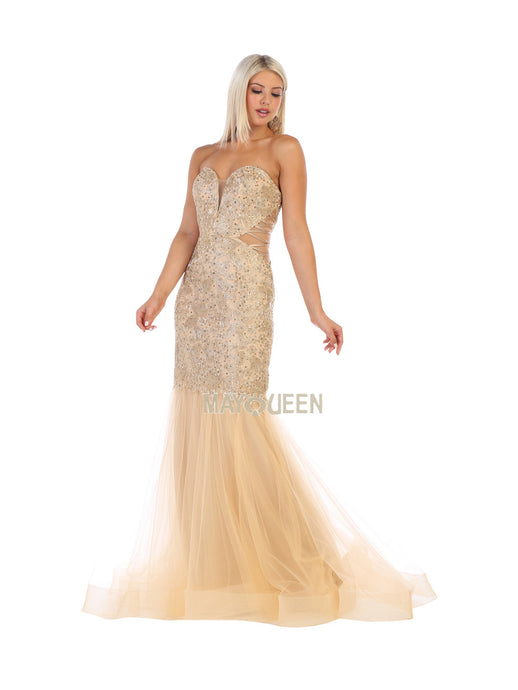 Mayqueen Size Chart E MQ 7682 - Embroidered Mermaid Gown with Strappy Cutout Sides - Diggz Prom