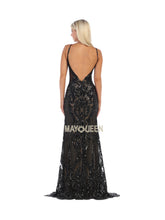 Mayqueen Size Chart E MQ 7688 - Patterned Glitter Fitted Gown with High Neck & Plunging Open Back - Diggz Prom