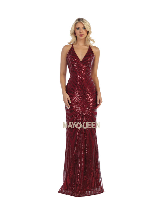 Mayqueen Size Chart E MQ 7695 - Deep-V Full Sequin Formal Gown - Diggz Prom
