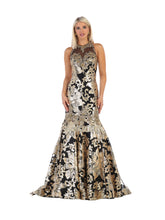 MQ 7698 - Sequin Open Back Mermaid Gown - Diggz Prom