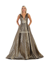 MQ 7701 - Plunging V-Neck Ballgown with Side Pockets - Diggz Prom