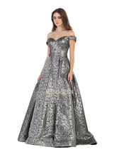 MQ 7704 - Embossed Metallic Off the Shoulder Ballgown with Sweetheart Neck & Corset Back - Diggz Prom