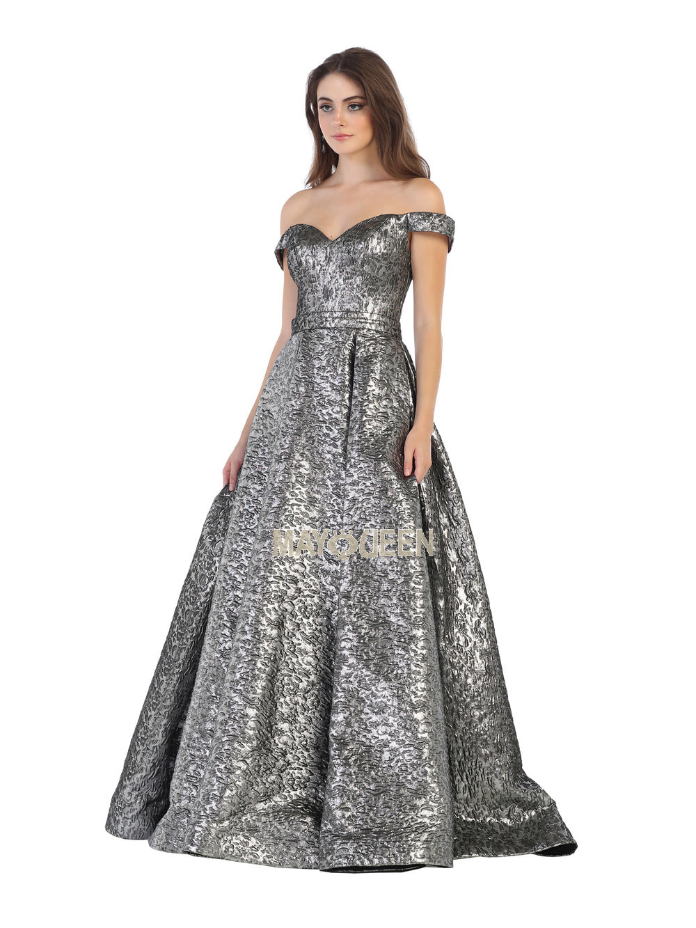 Mayqueen Size Chart E MQ 7704 - Off the Shoulder Ballgown with Metallic Embossed Material - Diggz Prom
