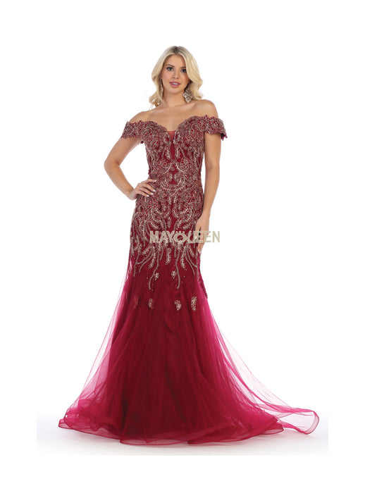 Mayqueen Size Chart E MQ 7705 - Embroidered Mermaid Off the Shoulder Gown - Diggz Prom