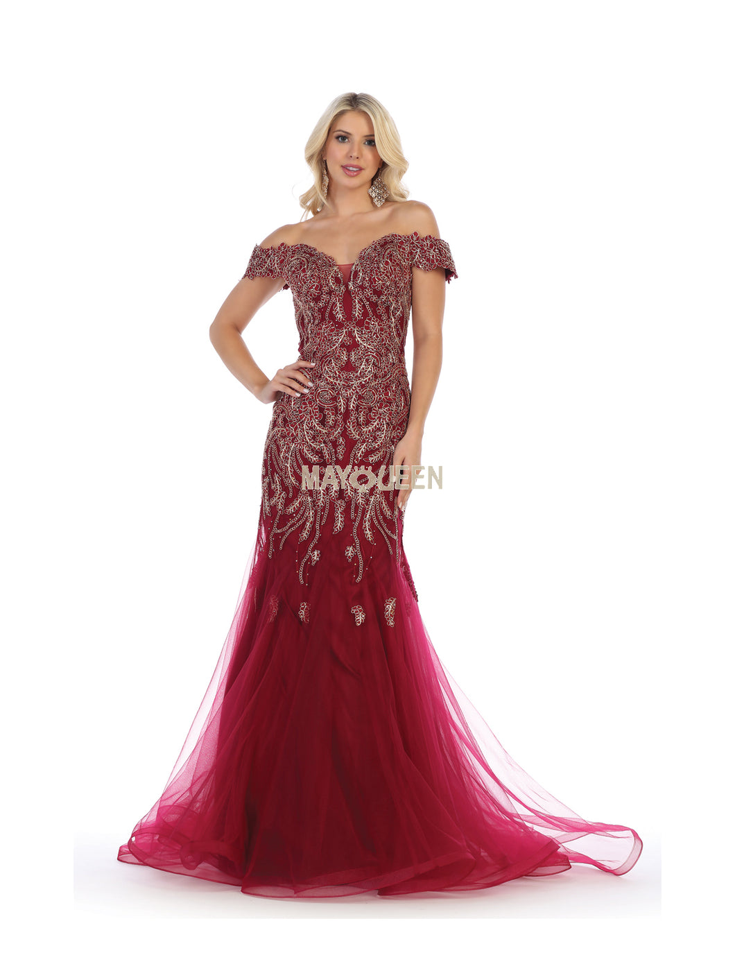 MQ 7705 - Off the Shoulder Embroidered Fit & Flare Sweetheart Neck & Tulle Skirt with Train - Diggz Prom