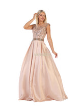 Mayqueen Size Chart E MQ 7706 - A-Line Ballgown with Side Pockets and Mesh Capsleeves - Diggz Prom