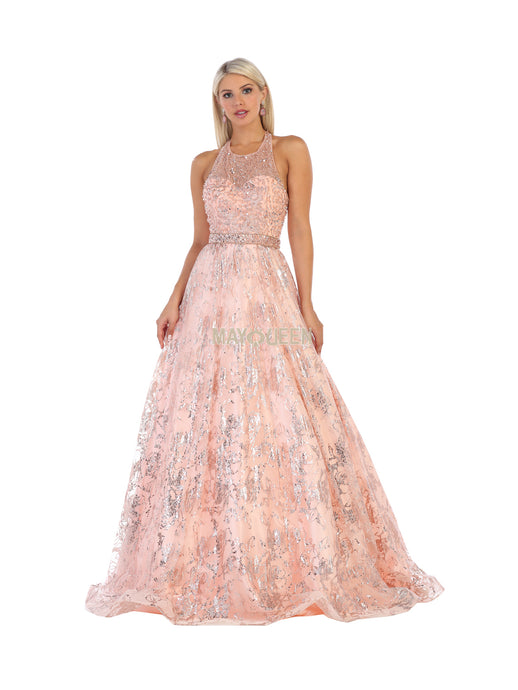 MQ 7707 - Beaded Halter Top Ballgown with Printed Skirt