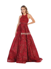 Mayqueen Size Chart E MQ 7707 - Beaded Halter Top Ballgown with Printed Skirt - Diggz Prom