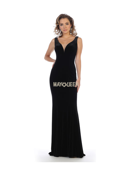 Mayqueen Size Chart E MQ 7710 - Deep-V Fitted Velvet Gown - Diggz Prom