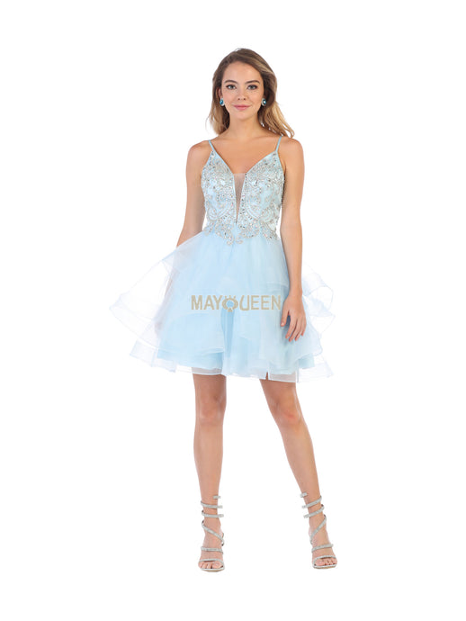 MQ 7719 - Deep-V Beaded Short Dress with Ruffled Skirt