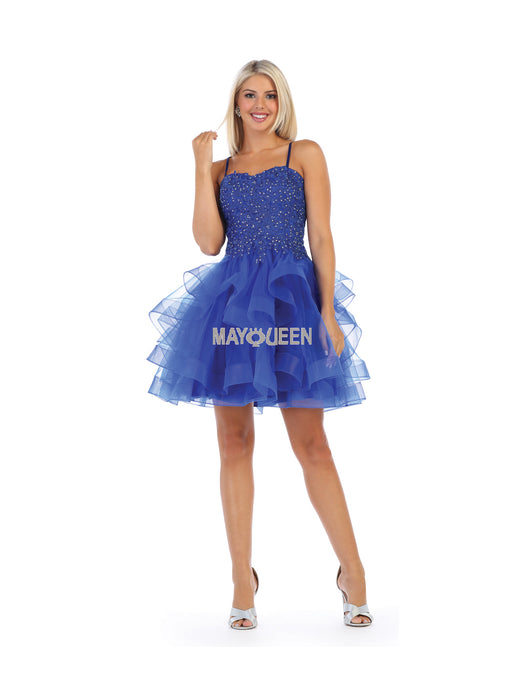 MQ 7720 - Spaghetti Strap Sweetheart Neck with Open Corset Back &  Full Ruffled Skirt - Diggz Prom