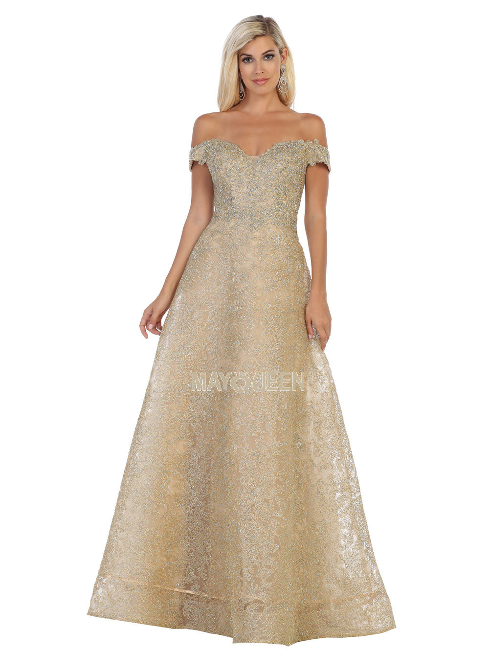 Mayqueen Size Chart E MQ 7722 - Glitter Lace Tulle A-Line with Off-Shoulder Sleeves - Diggz Prom