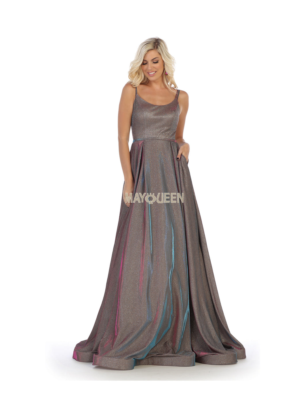 Mayqueen Size Chart E MQ 7726 - A-Line Spaghetti Strap Gown with Banded Waist - Diggz Prom