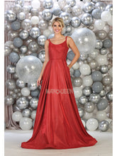 MQ 7726 - A-Line Spaghetti Strap Gown with Banded Waist - Diggz Prom