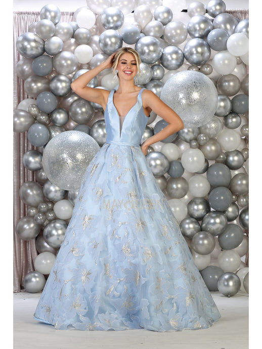 MQ 7730 - A-Line Ball Gown with Sheer V-Neck Open Back & Soft Floral Print Skirt - Diggz Prom