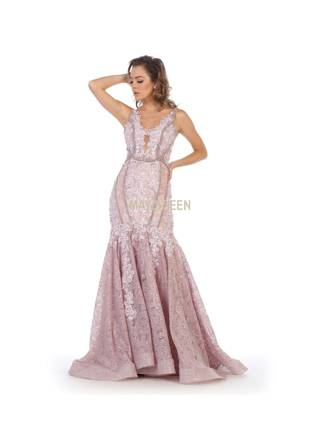 Mayqueen Size Chart E MQ 7735 - Lace Embellished V-Neck Mermaid Gown - Diggz Prom