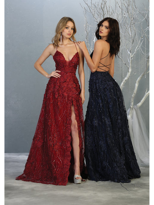 Mayqueen Size Chart E MQ 7738 - V-Neck A-Line Floral Lace Formal Gown with High Slit and Lace Up Back - Diggz Prom