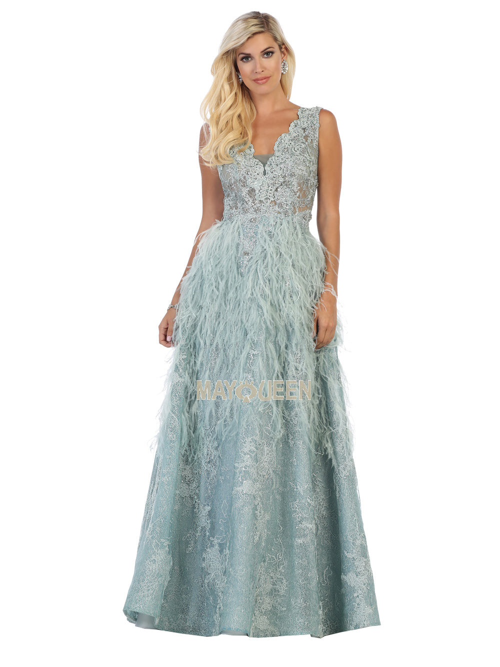 Mayqueen Size Chart E MQ 7741 - Lace Bodiced A-Line with Feather Lace Skirt - Diggz Prom