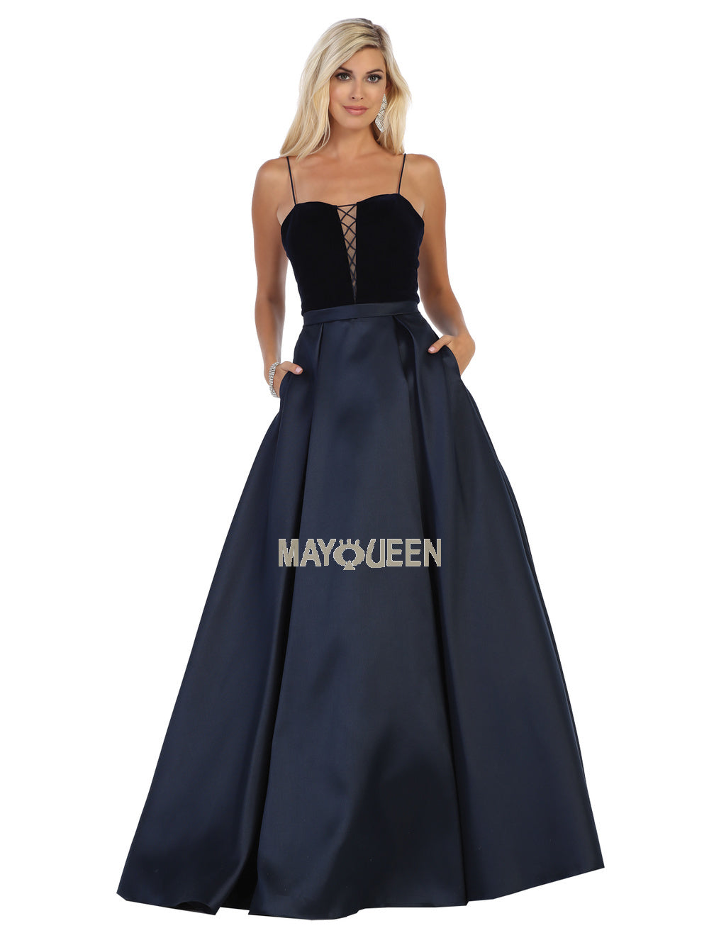 Mayqueen Size Chart E MQ 7742 - Spaghetti Strap Sweetheart Dress with lace up bodice - Diggz Prom