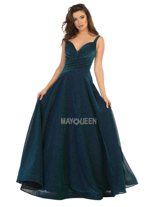 MQ 7747 - A-Line Spaghetti Strap Gown with Banded Waist