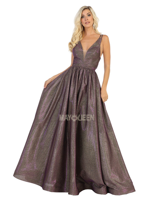 Mayqueen Size Chart E MQ 7748 - Metallic A-Line Ballgown with Plunging V-Neck & Strappy Open Back - Diggz Prom