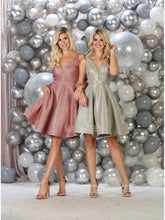 Mayqueen Size Chart E MQ 7749 - Spaghetti Strap Metallic Glitter Short Homecoming Dress with Pockets and Deep V Neck - Diggz Prom
