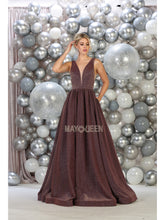 Mayqueen Size Chart E MQ 7753 - Metallic A-Line Ballgown with Plunging V-Neck & Low Open Back - Diggz Prom