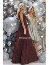 Mayqueen Size Chart E MQ 7755 - A-Line Sparkly Formal Gown with Plunging V-Neck - Diggz Prom