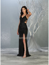MQ 7776 -Metallic Fit & Flare Prom Gown with V-Neck Strappy Back & Leg Slit - Diggz Prom