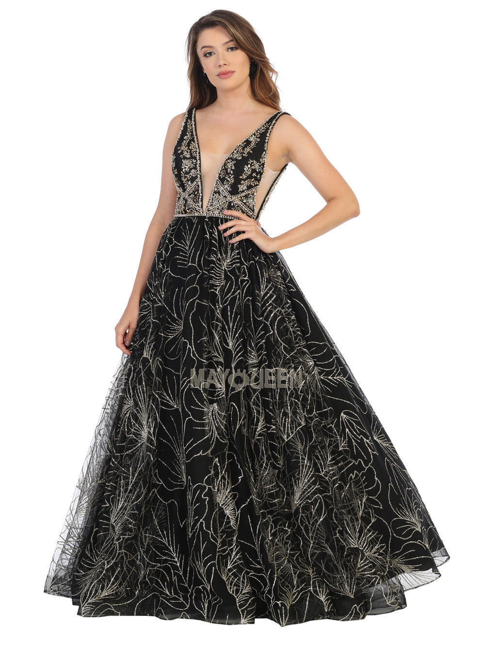 MQ 7780 - A-Line Ball Gown with Illusion V-Neck & Glitter Tulle Skirt