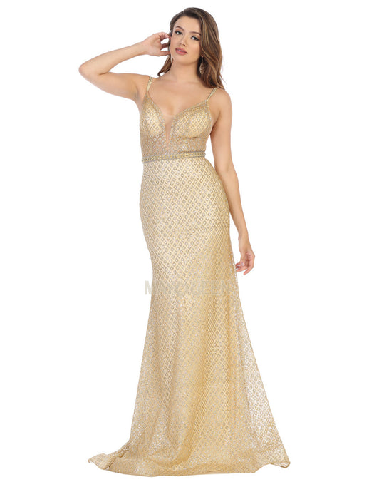 Mayqueen Size Chart E MQ 7782 - Fitted Glitter Gown with Sheer Bodice and Beaded Belt and Double Straps - Diggz Prom