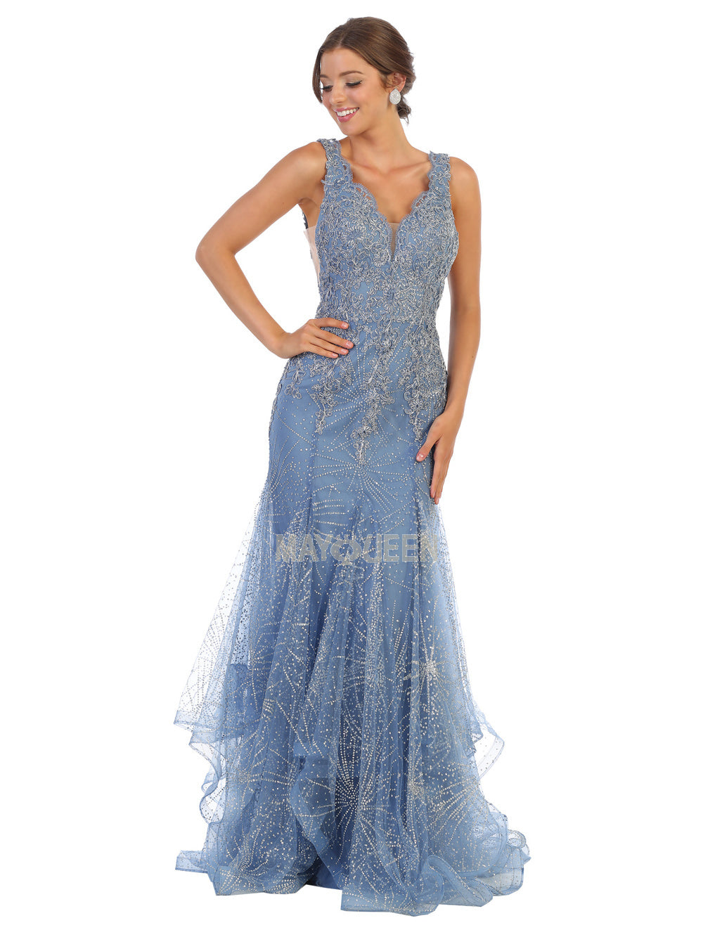 MQ 7786 - Mermaid Prom Gown with Embroidered Lace Bodice & Glitter Print Tulle Skirt