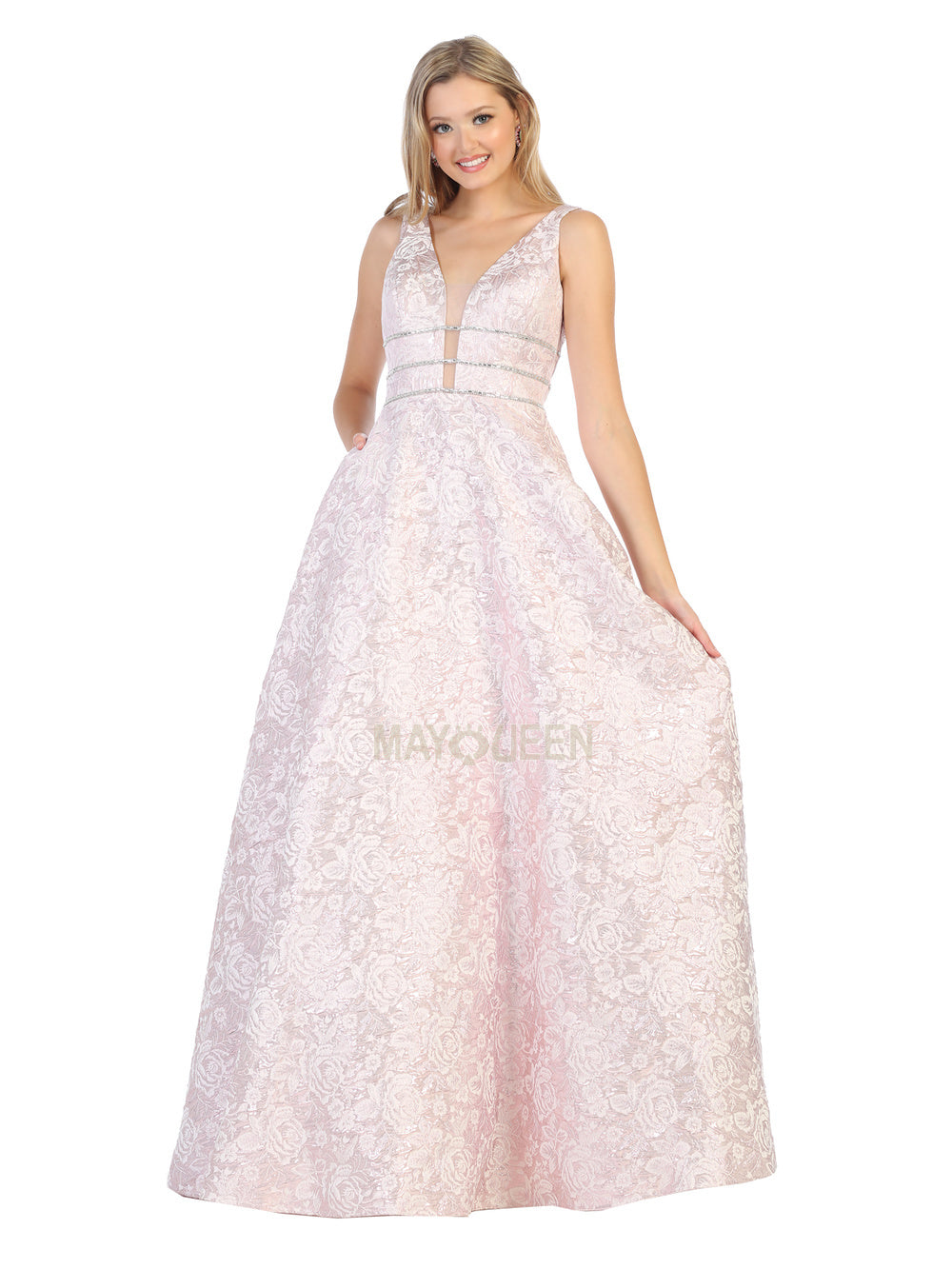 MQ 7787 - A-Line Triple Belted Gown with Deep Illusion V-Neck and Floral Pattern - Diggz Prom
