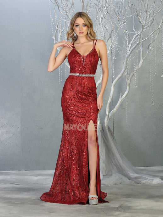 Mayqueen Size Chart E MQ 7788 - Fitted Glitter Patterned Gown with Strappy Corset Back and Embellished Belt - Diggz Prom