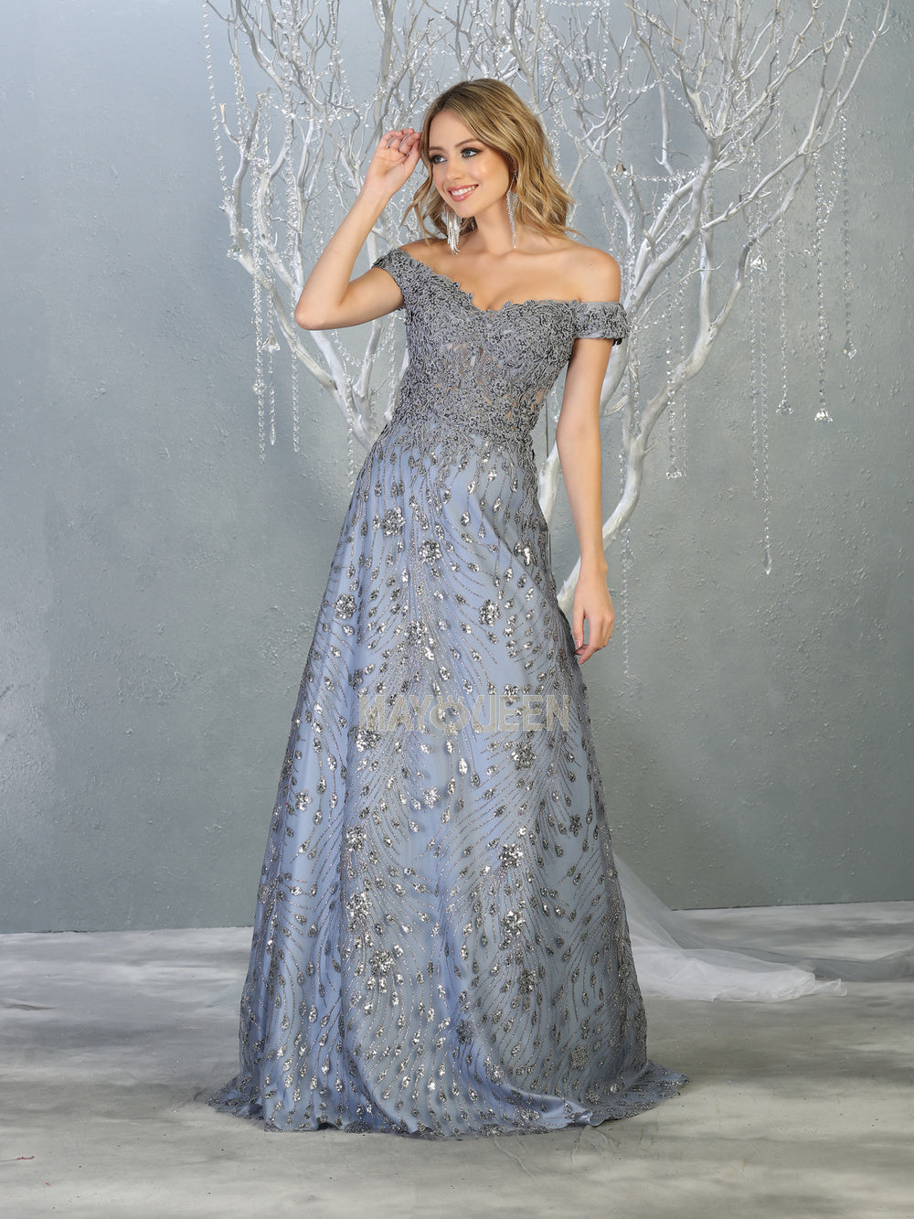 Mayqueen Size Chart E MQ 7789 - A-Line Gown with Lace Embellished Bodice and Glitter Design - Diggz Prom