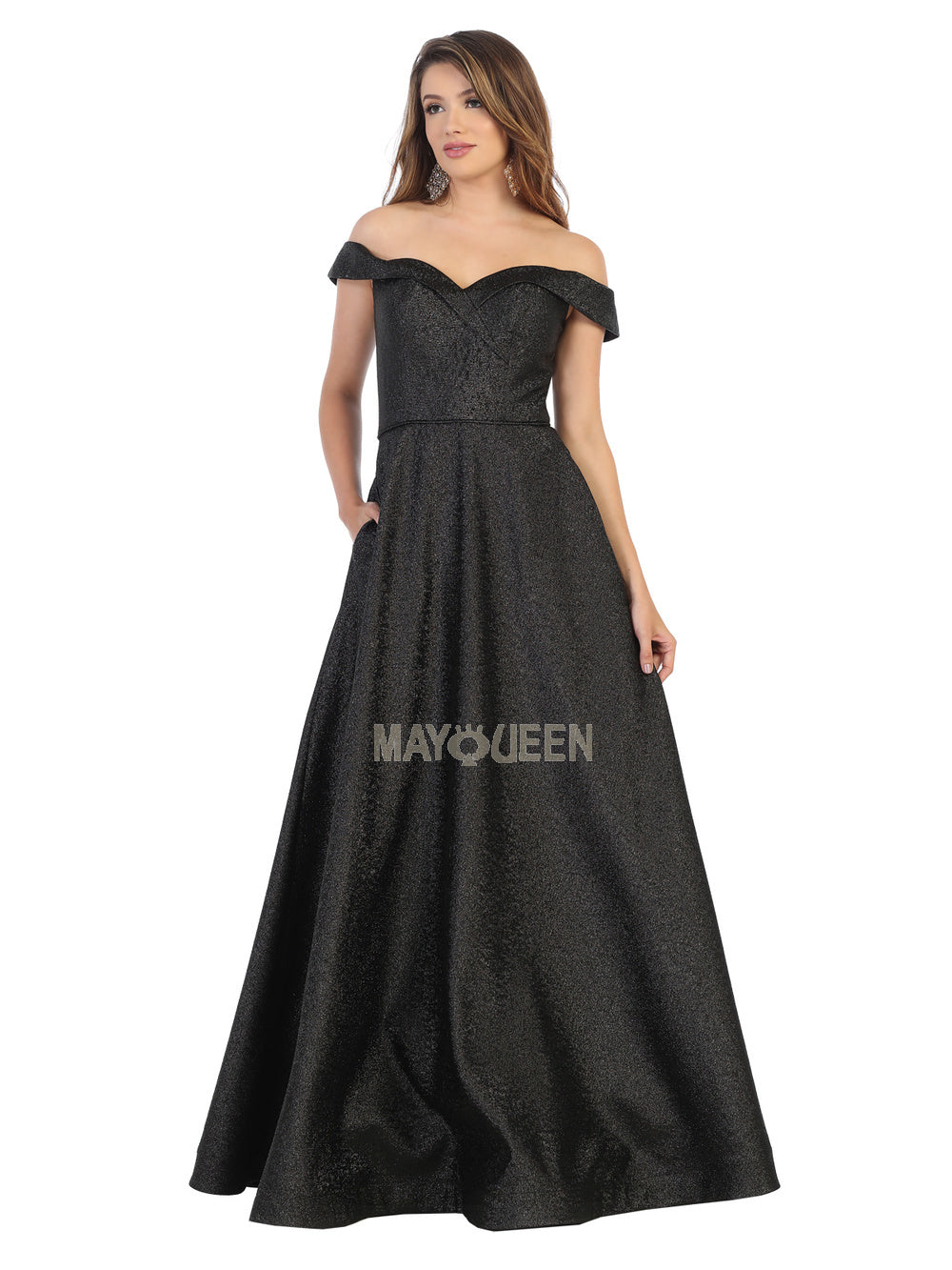 Mayqueen Size Chart E MQ 7793 - Off the Shoulder Metallic Ball Gown with Sweetheart Neckline and Pockets - Diggz Prom