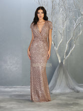 MQ 7794 - A Line Prom Gown with Low V Neckline & Short Sleeves