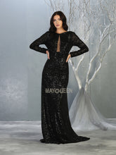 MQ 7795 - A Line Prom Gown with Long Sleeve & Full Body Glitter Finish