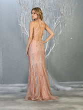 Mayqueen Size Chart E MQ 7797 - Fitted Glitter Gown with Halter Top Strappy Back and Embellished Belt - Diggz Prom