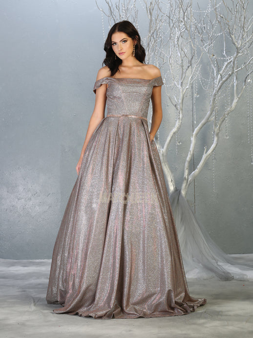 Mayqueen Size Chart E MQ 7802 - Off the Shoulders Metallic A-Line Ball Gown with Pleated Skirt & Belt - Diggz Prom