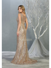 MQ 7810 - Fit and Flare Prom Gown with Glitter Print Design & High Illusion Neckline