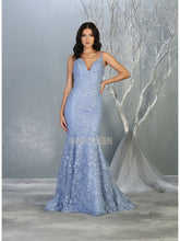 MQ 7811 - Fit & Flare Prom Gown with Shimmering Floral Applique & Corset Back - Diggz Prom