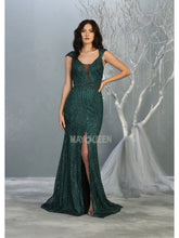 MQ 7812 - A Line Prom Gown with Full Glitter Design & High Leg Slit