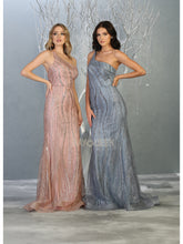 Mayqueen Size Chart E MQ 7813 - Fitted prom gown with asymmetrical neckline and glitter detailing. - Diggz Prom